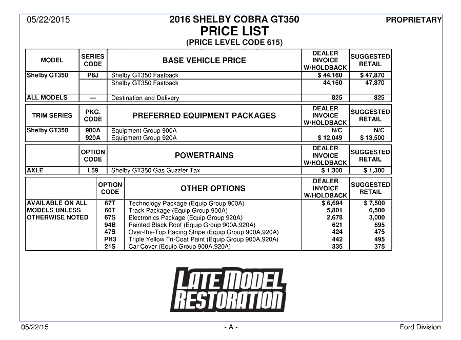 2016 Shelby GT350 Options & Specs - 2016 Shelby GT350 Options & Specs
